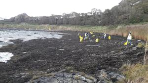 A team cleaning up at Ardglass, Co Down