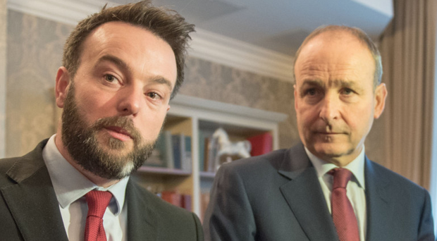 Colum Eastwood and (right) Micheal Martin yesterday