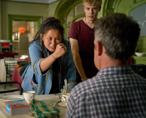 Star role: Thaddea Graham as Kat, with Tom Taylor as Albie, challenges Douglas (Tom Hollander) in a scene from Us