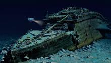 A computer-generated image of the Titanic wreck on the ocean floor