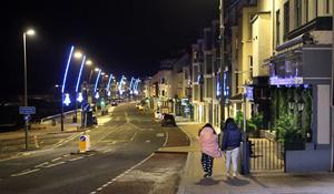 Silent night: The scene on a near-deserted promenade in Portstewart at midnight on New Year's Eve