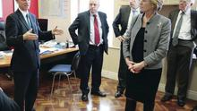 Editor Mike Gilson speaks to members of the Northern Ireland Affairs Select Committee during a visit to the Belfast Telegraph
