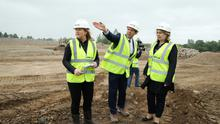 Former Secretary of State Karen Bradley (right) on the site of the Strule Shared Education Campus with John Smith of the SSEC Programme and Jennifer Morgan, Strule construction director, in June 2018