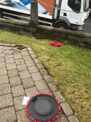 The damage by vandals to Lurgan cenotaph