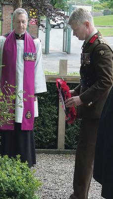 Brigadier Ralph Woodisse lays a wreath in memory of the 29 who died in the Mull of Kintyre helicopter crash in 1994