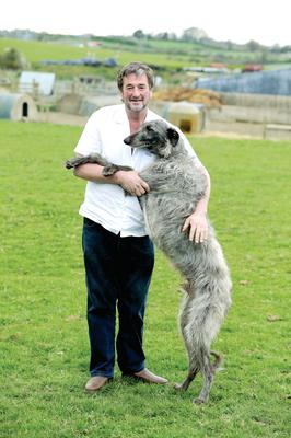 Kenny Gracey from Tandragee with some of his animals including Irish wolfhound Murphy