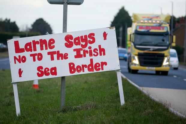 Anger: A sign on the outskirts of Larne voicing concerns over the Irish Sea border