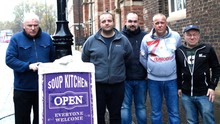 Helping hand: Paul McCusker (back) with volunteers (from left) Charlie McGarry, Paddy Doyle, Lenard Craig and James Menage at a soup kitchen in 2017