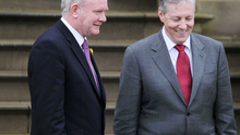 Martin McGuinness and Peter Robinson share a laugh