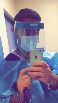 Micky Doherty takes a selfie in PPE for his Facebook page