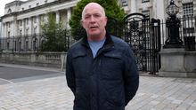 Abuse victim Gary Hoy outside Belfast High Court yesterday
