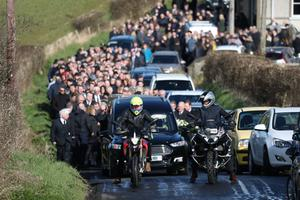 Motorcyclists form a guard of honour for Philip Wylie from Islandmagee Presbyterian Church following funeral service