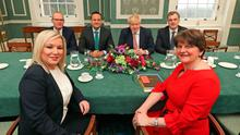 First Minister Arlene Foster (right) and Deputy First Minister Michelle O'Neill with (back, from left), Tanaiste Simon Coveney, Taoiseach Leo Varadkar, Prime Minister Boris Johnson and Secretary of State Julian Smith