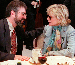 Jean Kennedy Smith with Gerry Adams in New York in 1999