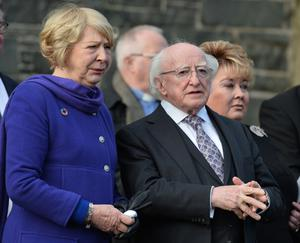 Irish President Michael D Higgins with his wife Sabina and the Lord Lieutenant of Belfast Fionnuala Jay-O'Boyle