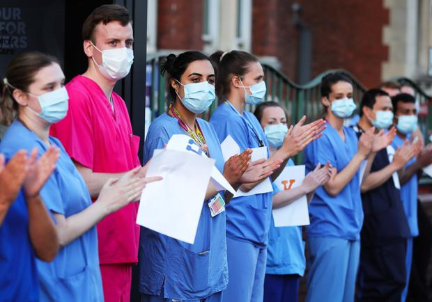 Staff at Belfast's Mater Hospital join in the clap for NHS workers.