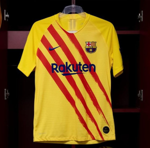 Barcelona's strip in the colours of the Catalan flag