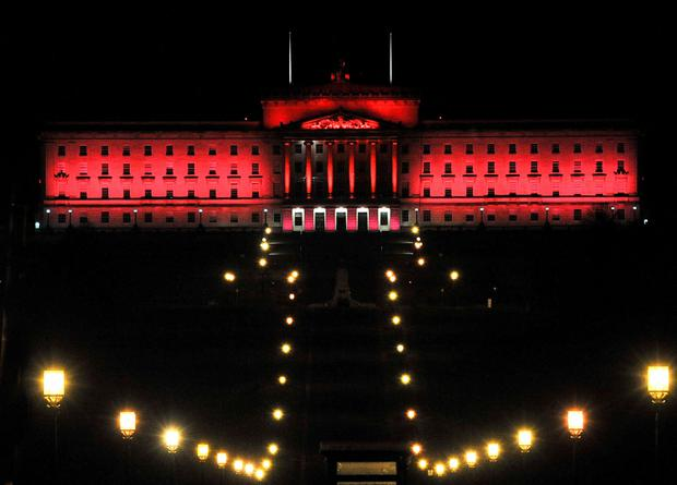 Stormont lit up in red overnight to mark Remembrance Sunday in 2017, Unionist parties have been calling for the building to be similarly lit up for European Victims of Terrorism Day on March 11.