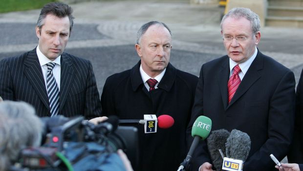 Martin McGuinness and Ian Paisley with the Republic's then Minister for Foreign Affairs Dermot Ahern at Stormont in 2007