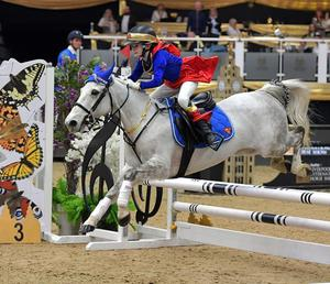 The talented young show jumper in action