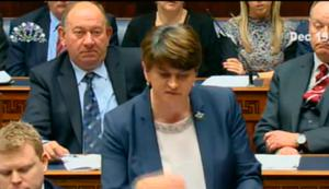 First Minister Arlene Foster at Stormont on December 19