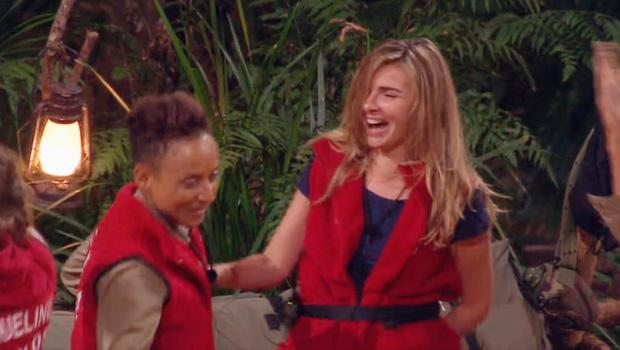Nadine Coyle jokes with Adele Roberts in the jungle