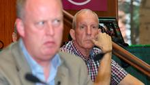 Bobby Storey (right) in close proximity to Chief Constable George Hamilton during a recent Falls Road debate