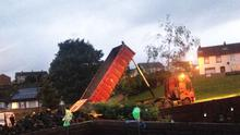 Tyres on the Ballybeen bonfire which were delivered overnight