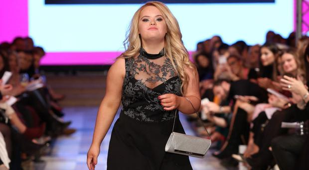 Kate Grant modelling at Belfast Fashion Week
