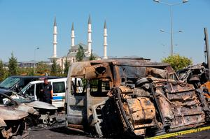 Burnt out vehicles in Ankara