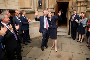 Theresa May with her husband Philip John May after being confirmed as the new Tory leader yesterday