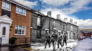 A composite image showing Bombay Street in 1969 and 2019