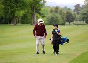 Aaron O'Reilly (11) and grandfather Kevin at Dunmurry