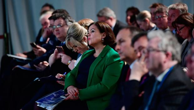 DUNDALK, IRELAND - APRIL 30: Sinn Fein leader Mary Lou McDonald pictured at the All-Island Civic Dialogue on Brexit meeting on April 30, 2018 in Dundalk, Ireland. EU Chief Negotiator on Brexit Michel Barnier gave an overview of the ongoing Article 50 negotiations with the UK. (Photo by Charles McQuillan/Getty Images)