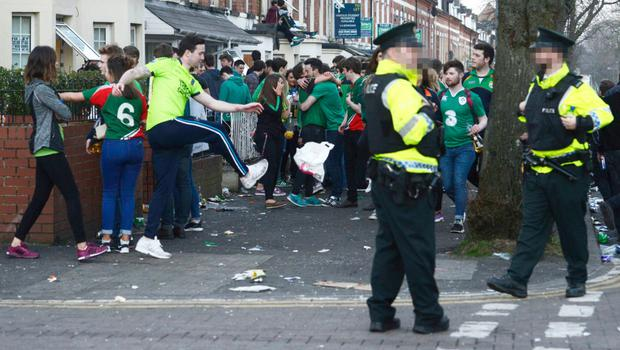 Police monitor the crowds in the Holyland during recent St Patrick's Day celebrations