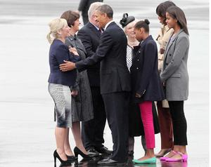 Arelene Foster and Michelle O'Neill greet Barack Obama in 2013