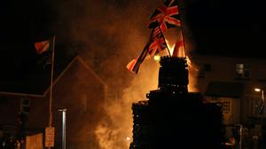 A giant bonfire in the Bogside area of Londonderry (Brian Lawless/PA)