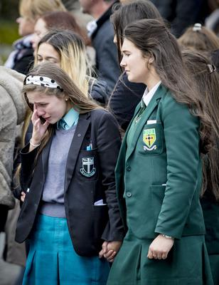 Mourners at the funeral mass for Connor Currie in St Malachy's, Edendork