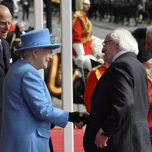The Queen and Duke of Edinburgh welcome Irish President Michael D Higgins to Windsor Castle