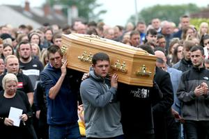 The funeral of Samuel McCullough in Crossgar yesterday