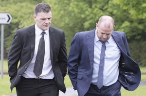 Enda Gormley (left) on his way to court with his co-accused Adrian McCloskey