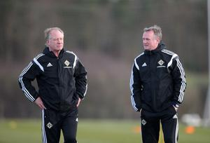 Jimmy Nicholl with NI manager Michael O'Neill