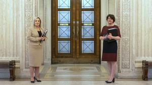 Arlene Foster (right) and Michelle O'Neill have restated that Westminster should pay for a pension for victims of the Troubles (Liam McBurney/PA)
