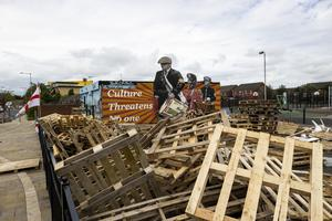Preparations for an 11th night Bonfire in the Lower Newtownards Road area of east Belfast. Pic Liam McBurney/PA Wire