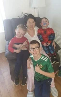 Danielle Martin with Parker (3), Jaiden (9) and two-year-old Joshua