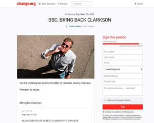 "A petition calling for Jeremy Clarkson to be reinstated after he was suspended by the BBC ""following a fracas"" with a producer"