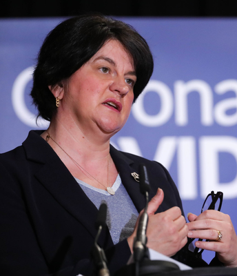 Arlene Foster at the Stormont briefing yesterday