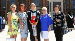 Rachel Dean following her graduation at Queen's University with (from left) Olga Millar, her mother Anna Dean, Lilly Graham and Maureen McDowell