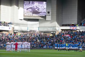 A minute's silence is held for former Rangers and Linfield player Billy Simpson during the Ladbrokes Scottish Premiership match at Ibrox stadium in Glasgow