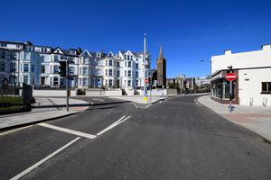 The empty main street in Portrush town centre during Easter weekend